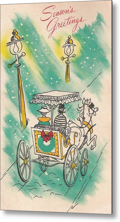 Horse Drawn Carriage Metal Print featuring the painting Christmas Illustration 1218 - Vintage Christmas Cards - Horse Drawn Carriage by TUSCAN Afternoon
