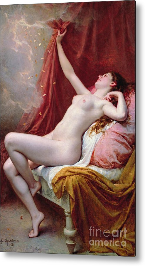 Nude Metal Print featuring the painting Danae by Alexandre-Jacques Chantron