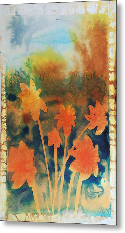 Flowers Bright Free Loose Blue Yellow Green Red Orange Metal Print featuring the painting Fire Storm In The Wild Flower Meadow by Amy Bernays