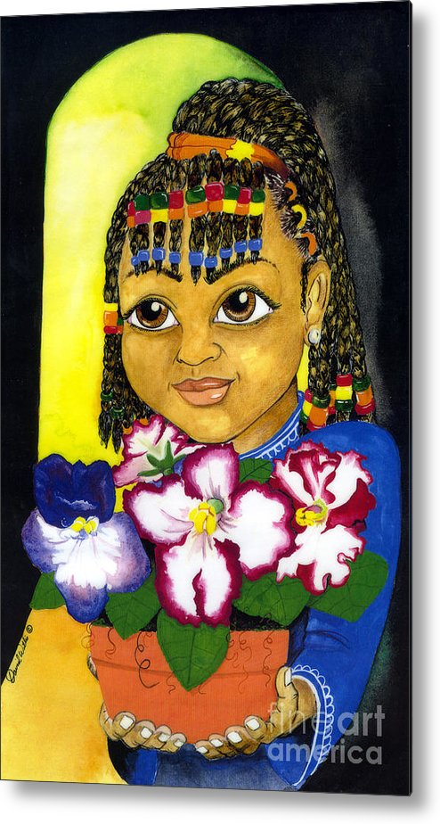 Girl Metal Print featuring the painting Girl With African Violet by David Willis