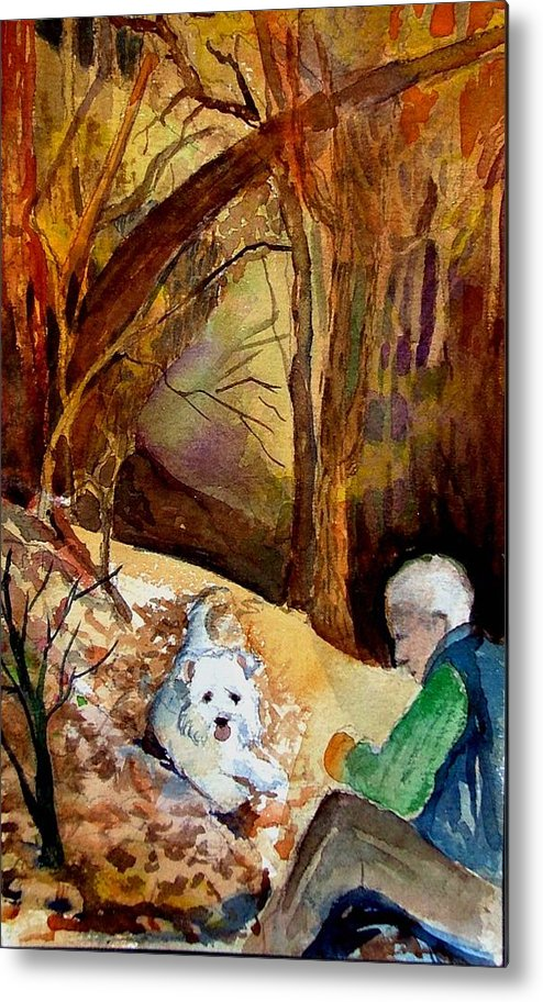 Landscape Metal Print featuring the painting His Golden Years by Mindy Newman