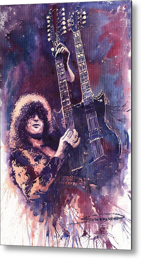 Watercolour Metal Print featuring the painting Jimmy Page by Yuriy Shevchuk