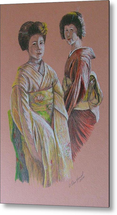 Japan Metal Print featuring the drawing Ladies Of The Rising Sun by Dan Hausel