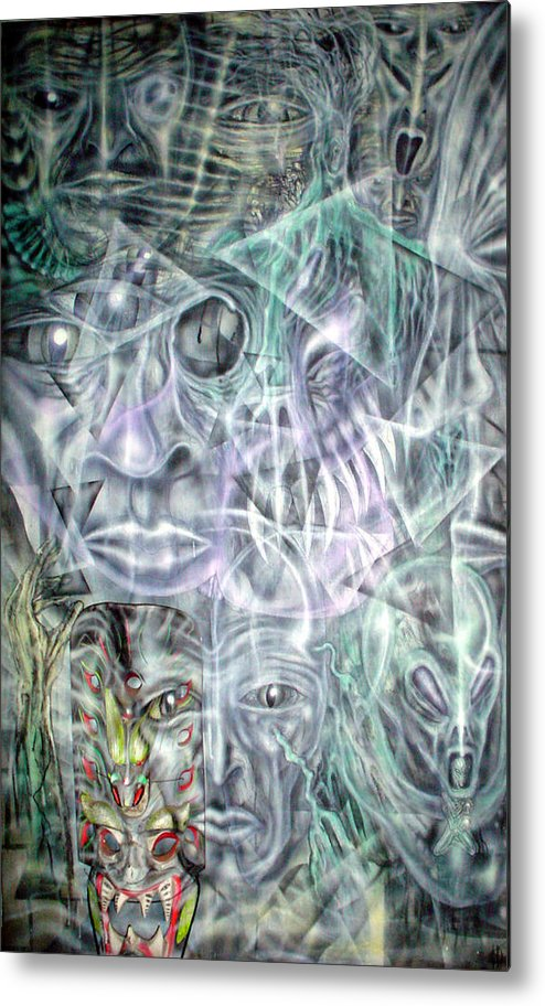 Contemporary Metal Print featuring the painting Mask Unfolding by Leigh Odom
