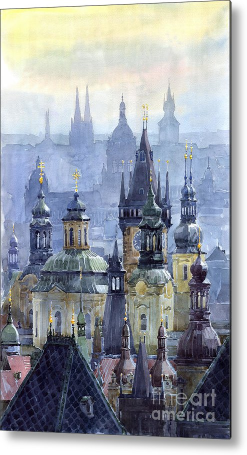 Architecture Metal Print featuring the painting Prague Towers by Yuriy Shevchuk