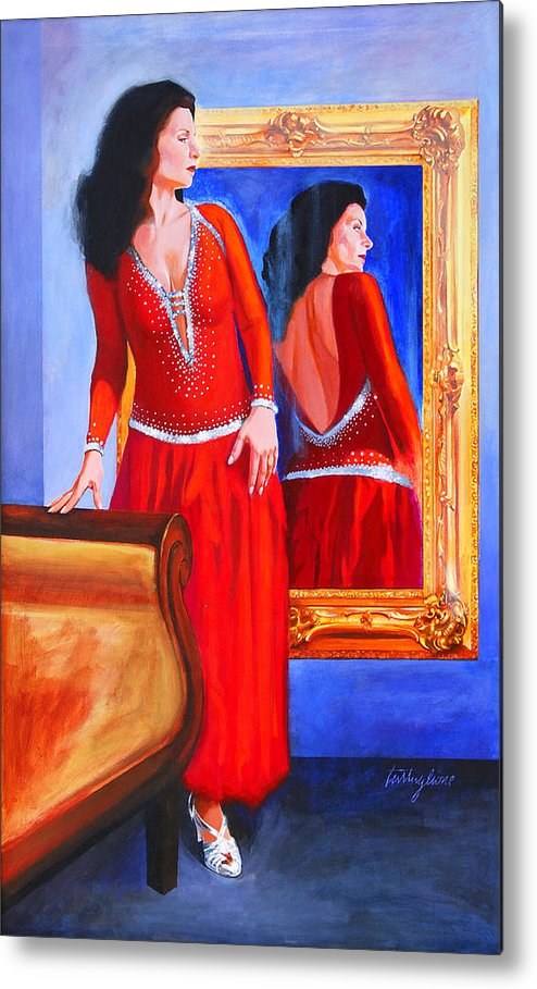 Red Dress Metal Print featuring the painting Red Dress by John Tartaglione