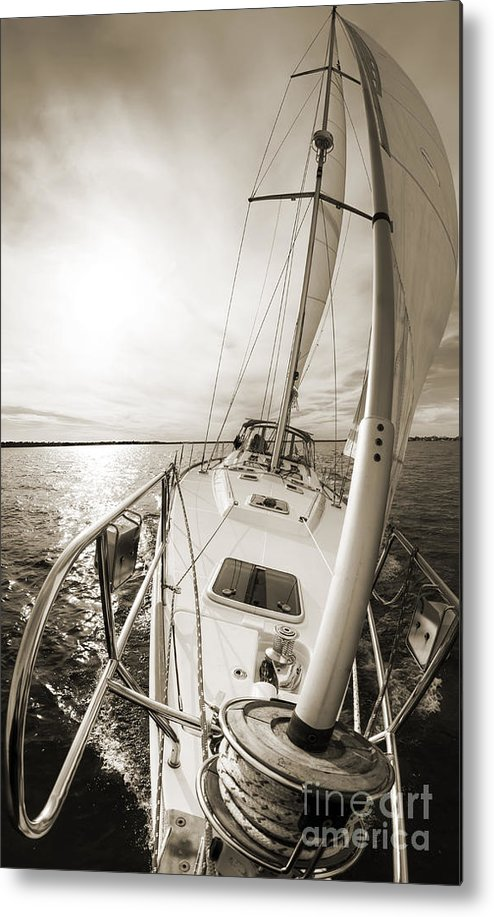 Sailing Metal Print featuring the photograph Sailing On A Beneteau 49 Sailboat by Dustin K Ryan
