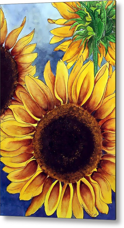 Watercolor Metal Print featuring the painting Sunny Sunflowers by Mary Gaines