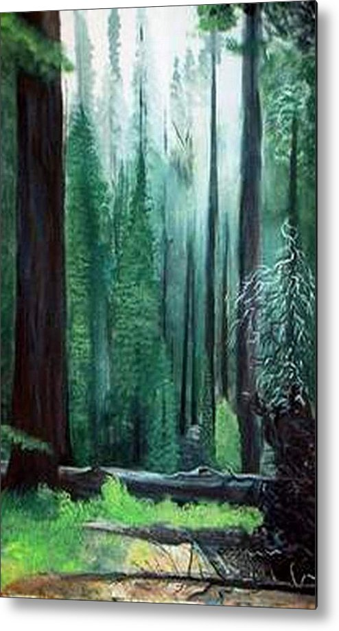 Landscape Metal Print featuring the painting Tall Trees by Julie Lamons