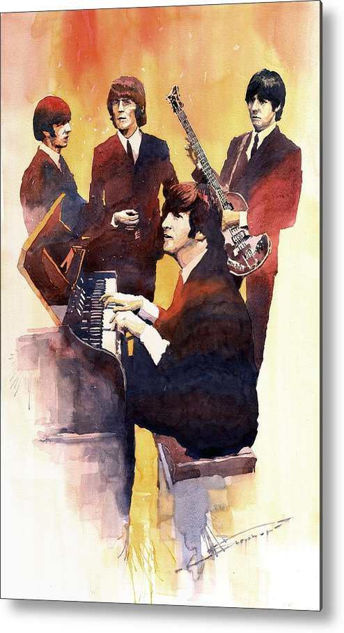 Watercolor Metal Print featuring the painting The Beatles 01 by Yuriy Shevchuk
