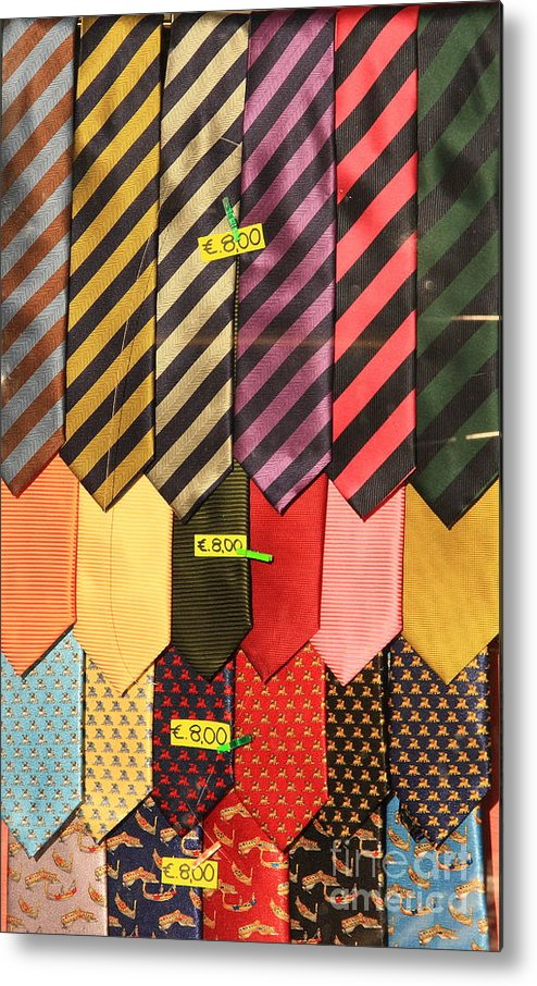 Neck Ties Metal Print featuring the photograph Ties In Shop Window In Venice by Michael Henderson