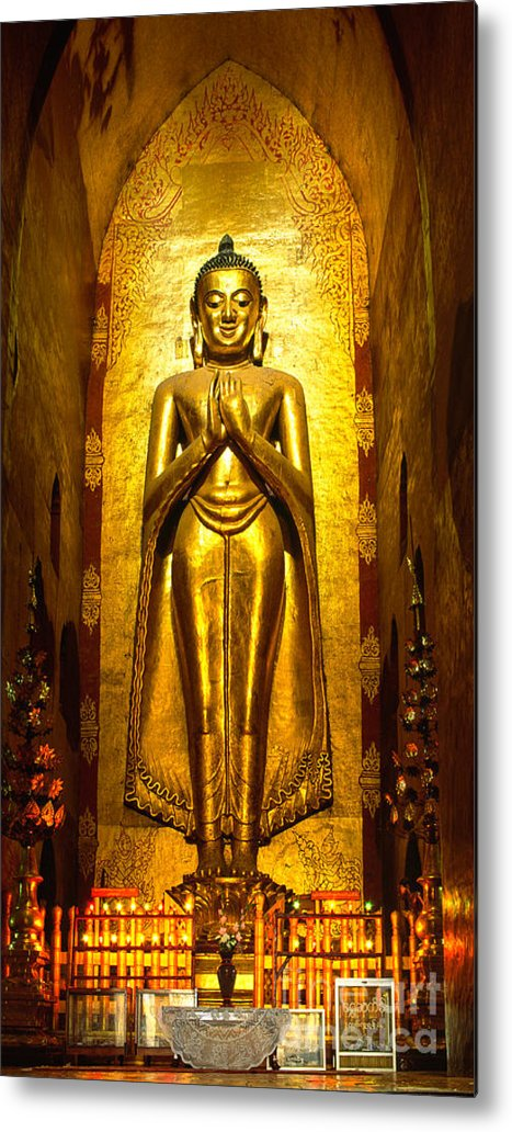 Ancient Metal Print featuring the photograph Buddha Inside Ananda Temple - Bagan - Myanmar by Luciano Mortula