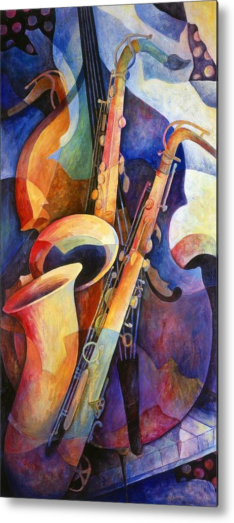 Susanne Clark Metal Print featuring the painting Sexy Sax by Susanne Clark