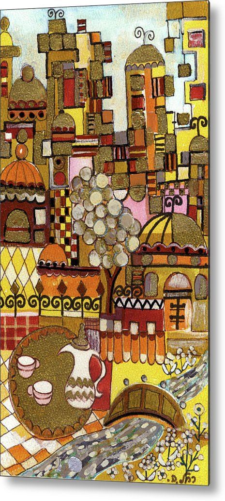 Jerusalem Metal Print featuring the painting Jerusalem Alleys Tall 5 In Red Yellow Brown Orange Green And White Abstract Skyline Landscape  by Rachel Hershkovitz