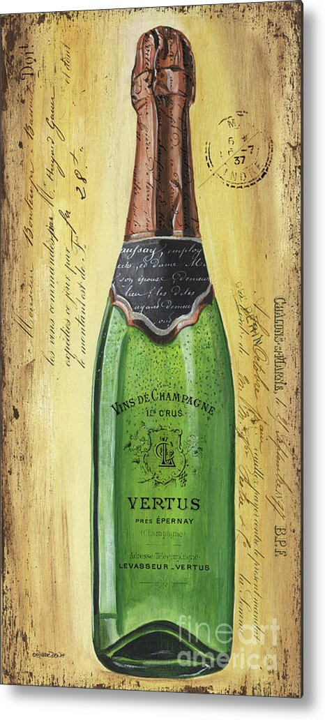 Alcohol Metal Print featuring the painting Bubbly Champagne 2 by Debbie DeWitt