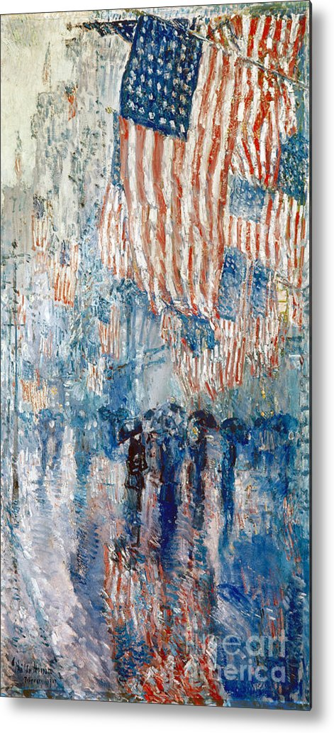 1917 Metal Print featuring the photograph Hassam Avenue In The Rain by Granger