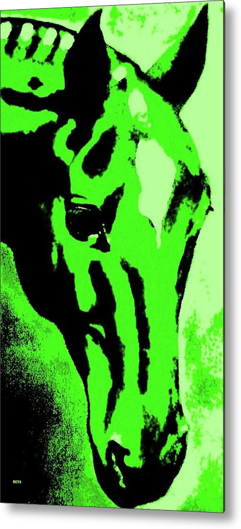 Horse Art Metal Print featuring the painting horse portrait RED green by Bets Klieger