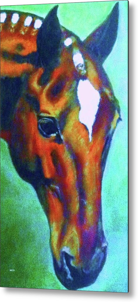 Horse Art Metal Print featuring the painting horse portrait RED psychedelic by Bets Klieger