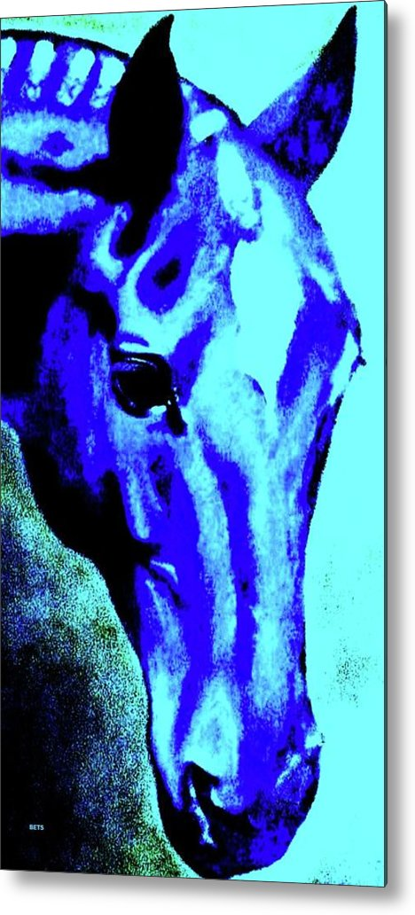 Horse Art Metal Print featuring the painting horse portrait RED wow blue by Bets Klieger