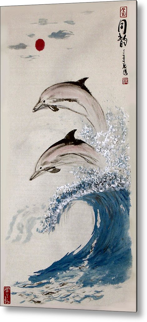 Dolphon Metal Print featuring the painting Same Rhythm by Lilian Storino