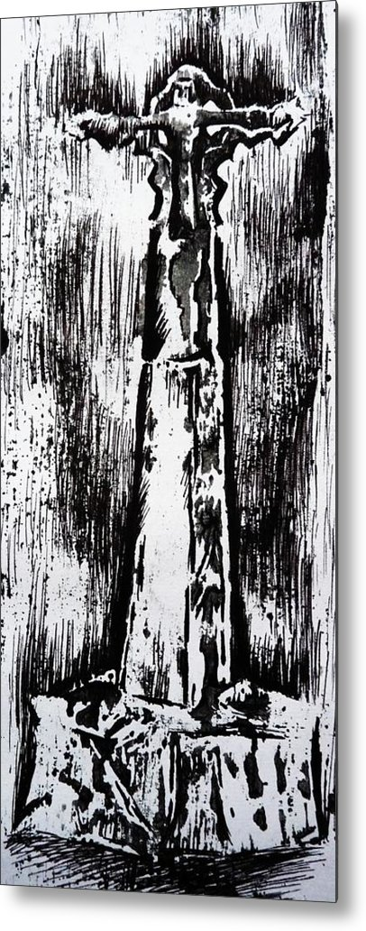 Wayside Cross Metal Print featuring the painting Wayside Cross by Lucy Deane