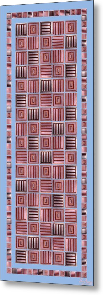 Metal Print featuring the digital art Striped Squares On A Blue Background by Elena Simonenko