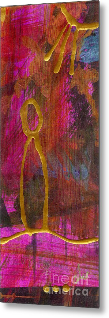 Gretting Cards Metal Print featuring the mixed media Magenta Joy Stands Alone by Angela L Walker