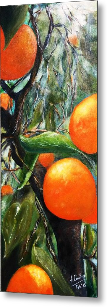 Metal Print featuring the painting Oranges Extract by Anthony Camilleri