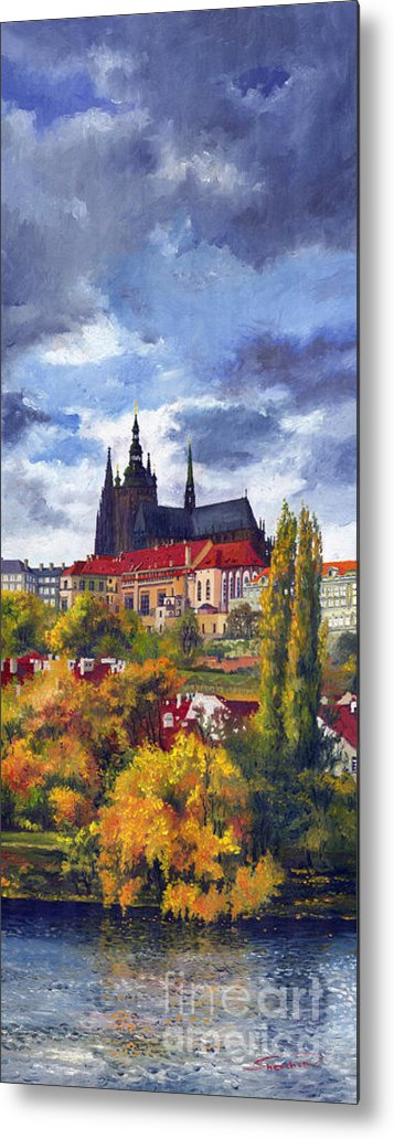 Prague Metal Print featuring the painting Prague Castle With The Vltava River by Yuriy Shevchuk