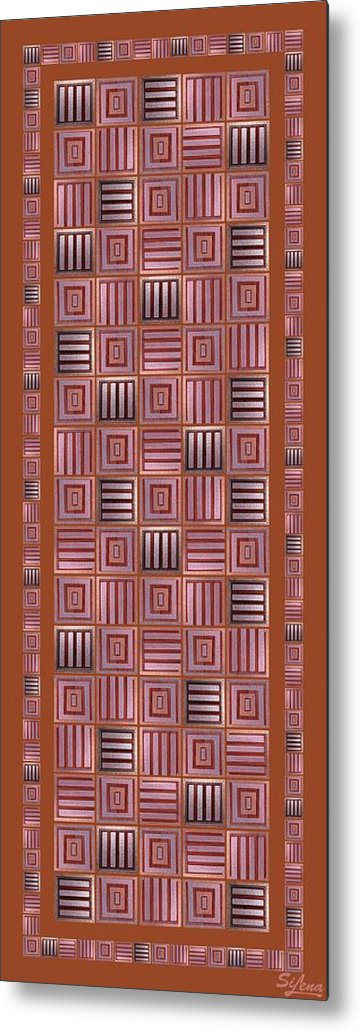 Metal Print featuring the digital art Striped Squares On A Mustard Background by Elena Simonenko