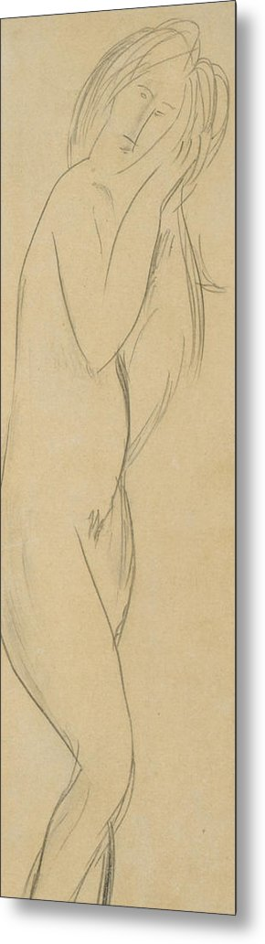 Nude Metal Print featuring the drawing Nude Woman by Amedeo Modigliani