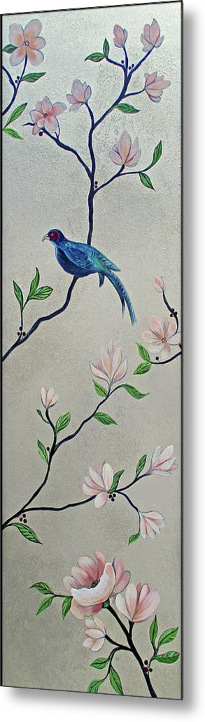 Peacock Peacocks Bird Birds Pattern Patterns Flowers Pink Green Leaf Leafy Leaves Vine Vines Ivy Plant Plants Fabric Fabrics Design Chinoiserie Panels Groupings Pheasant Flower Magnolia Golden Pheasant Butterfly Transitional Cardinal Red Bird Blue Bird Jay Peach Green Humming Bird And Blue Jay Metal Print featuring the painting Chinoiserie - Magnolias And Birds #4 by Shadia Derbyshire