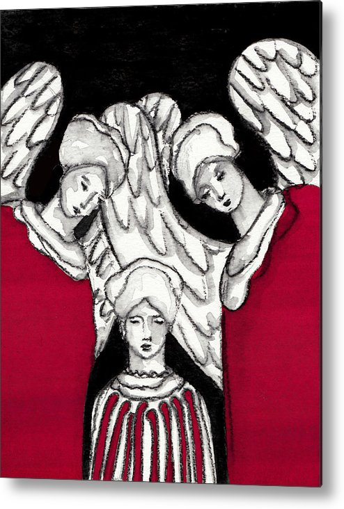 Angel Metal Print featuring the painting Keepers No 11 by Milliande Demetriou