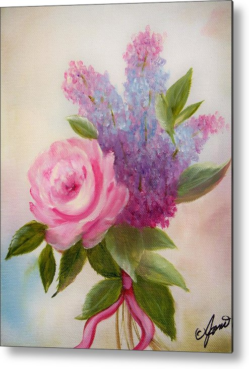 Rose Metal Print featuring the painting A Rose For You by Joni McPherson