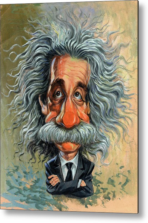 Albert Einstein Metal Print featuring the painting Albert Einstein by Art
