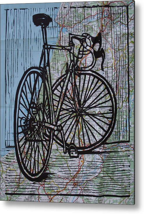 Bike Metal Print featuring the drawing Bike 4 On Map by William Cauthern