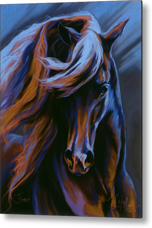 Fantasy Horse Metal Print featuring the pastel Flamenco by Kim McElroy