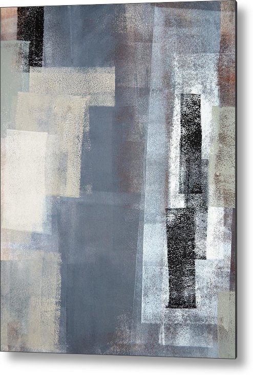 Grey Metal Print featuring the painting Blocked - Grey And Beige Abstract Art Painting by CarolLynn Tice