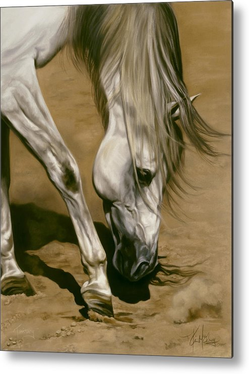 White Horse Metal Print featuring the pastel Territory by Kim McElroy