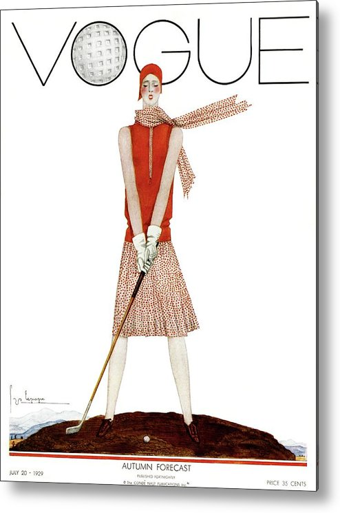 Illustration Metal Print featuring the photograph A Vintage Vogue Magazine Cover Of A Woman by Georges Lepape