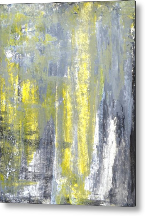 Grey Metal Print featuring the painting Placed - Grey And Yellow Abstract Art Painting by CarolLynn Tice