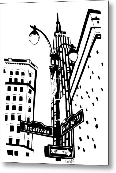 New York Metal Print featuring the drawing 34th And Broadway by Candace Stalder