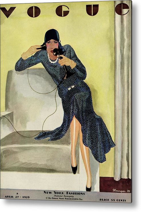 Illustration Metal Print featuring the photograph A Vintage Vogue Magazine Cover Of A Woman by Pierre Mourgue