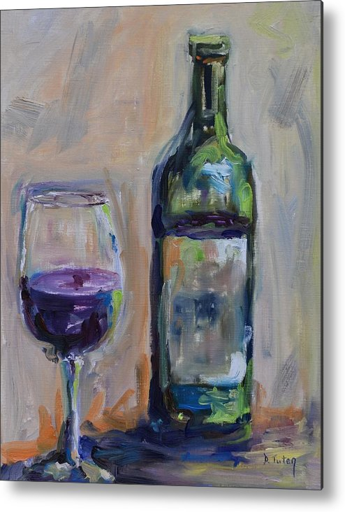 Wine Metal Print featuring the painting A Good Pour by Donna Tuten