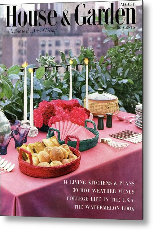 Travel Metal Print featuring the photograph A House And Garden Cover Of Al Fresco Dining by Wiliam Grigsby
