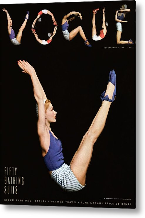 One Person Metal Print featuring the photograph A Vogue Magazine Cover Of Lisa Fonssagrives by Horst P Horst