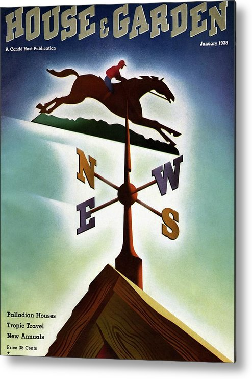House And Garden Metal Print featuring the photograph A Weathervane With A Racehorse by Joseph Binder