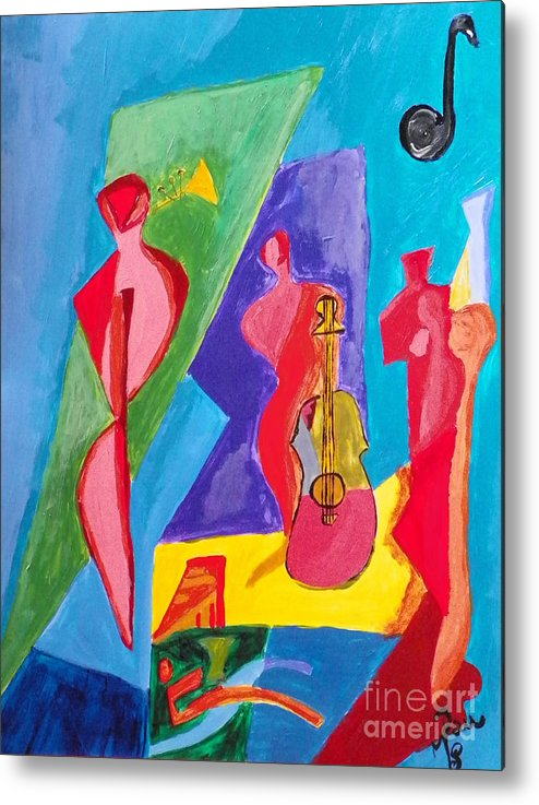 Metal Print featuring the painting All My Jazz by Paula Marcenaro Solinger