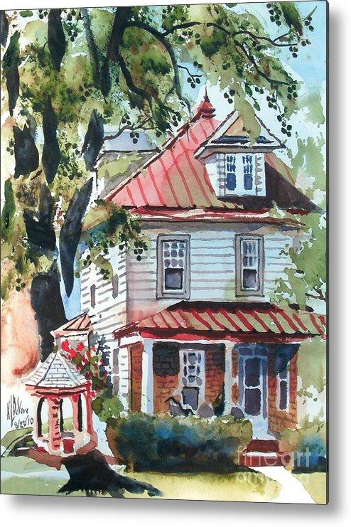 American Home With Children's Gazebo Metal Print featuring the painting American Home With Children's Gazebo by Kip DeVore