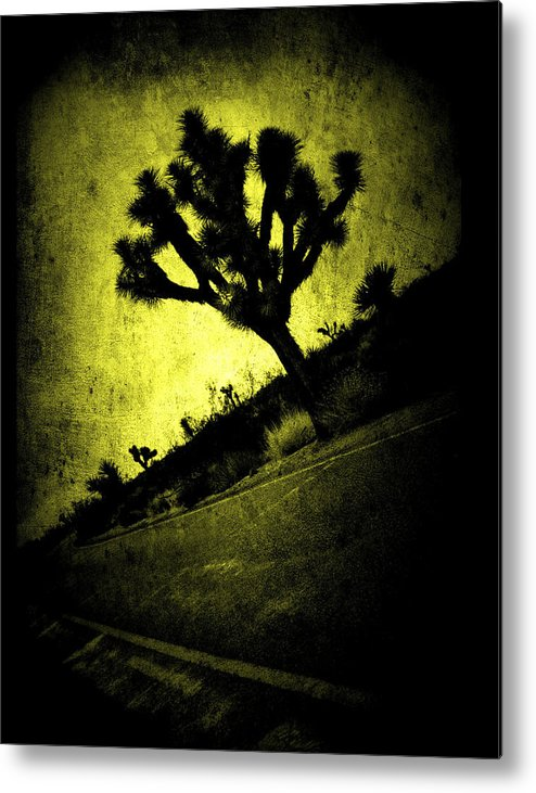 Poster-landscape-modern-yellow-black-masculine-rustic-joshua-tree-landscape-dark-bright-western-unique-national-park Metal Print featuring the mixed media Black And Yellow Joshua Tree Poster by Noemy O